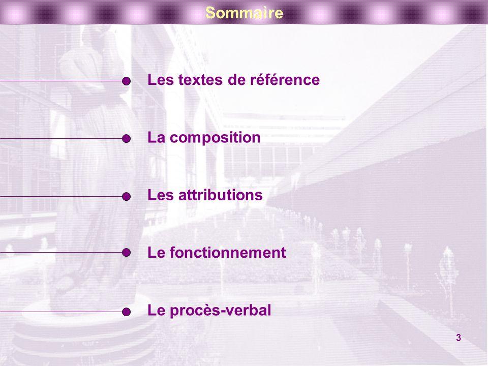 Les textes de référence La composition Les attributions Le fonctionnement Le procès-verbal 3 Sommaire