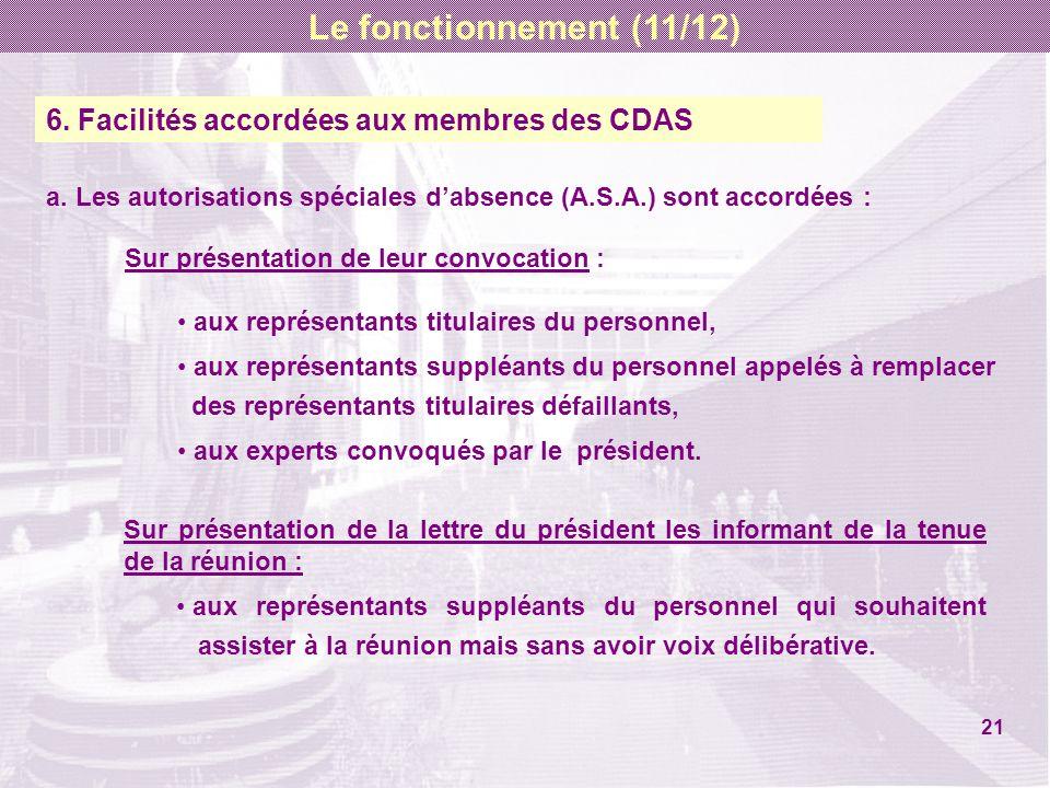 6. Facilités accordées aux membres des CDAS a. Les autorisations spéciales dabsence (A.S.A.) sont accordées : Sur présentation de leur convocation : a