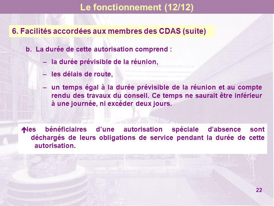 6. Facilités accordées aux membres des CDAS (suite) b. La durée de cette autorisation comprend : –la durée prévisible de la réunion, –les délais de ro