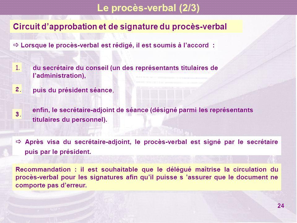 Circuit dapprobation et de signature du procès-verbal 1. 2. 3. du secrétaire du conseil (un des représentants titulaires de ladministration), Lorsque
