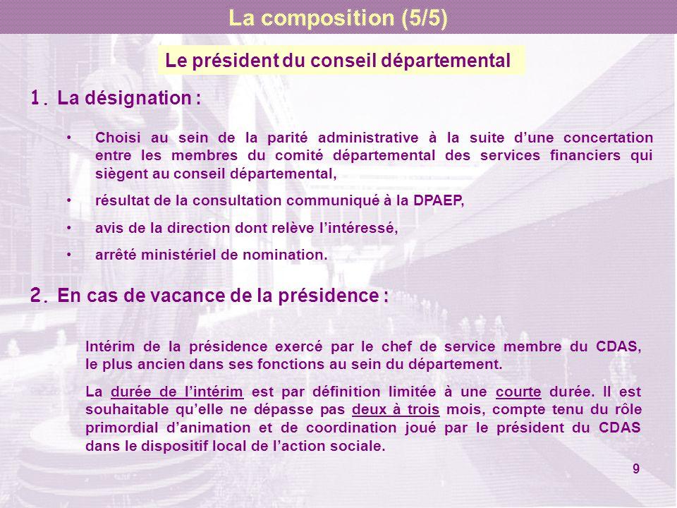 Le président du conseil départemental 1. La désignation : Choisi au sein de la parité administrative à la suite dune concertation entre les membres du