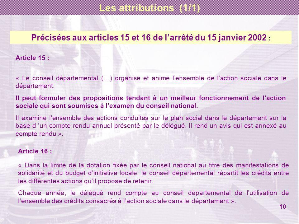 Précisées aux articles 15 et 16 de larrêté du 15 janvier 2002 : Article 15 : « Le conseil départemental (…) organise et anime lensemble de laction soc