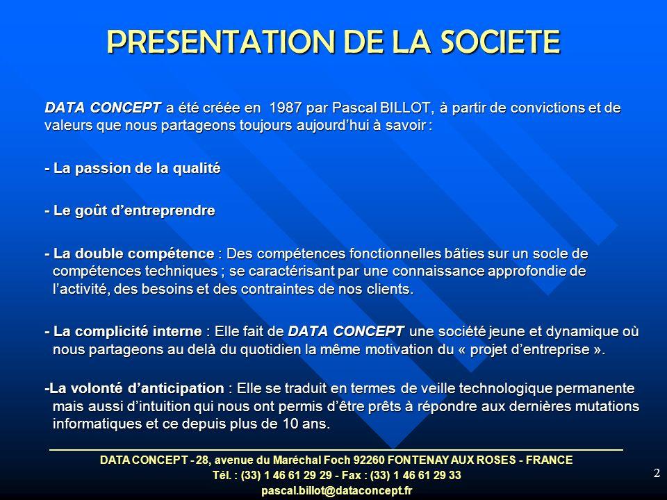 DATA CONCEPT - 28, avenue du Maréchal Foch 92260 FONTENAY AUX ROSES - FRANCE Tél.