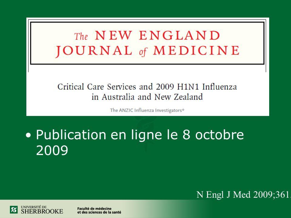 Publication en ligne le 8 octobre 2009 N Engl J Med 2009;361.