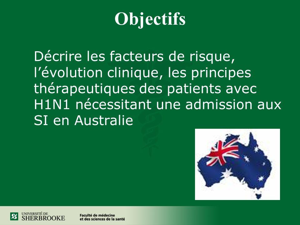 Objectifs Décrire les facteurs de risque, lévolution clinique, les principes thérapeutiques des patients avec H1N1 nécessitant une admission aux SI en Australie