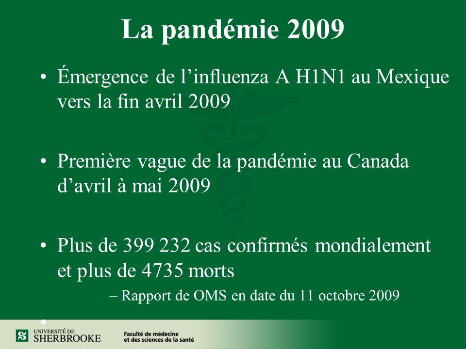 La pandémie 2009 Émergence de linfluenza A H1N1 au Mexique vers la fin avril 2009 Première vague de la pandémie au Canada davril à mai 2009 Plus de 399 232 cas confirmés mondialement et plus de 4735 morts –Rapport de OMS en date du 11 octobre 2009