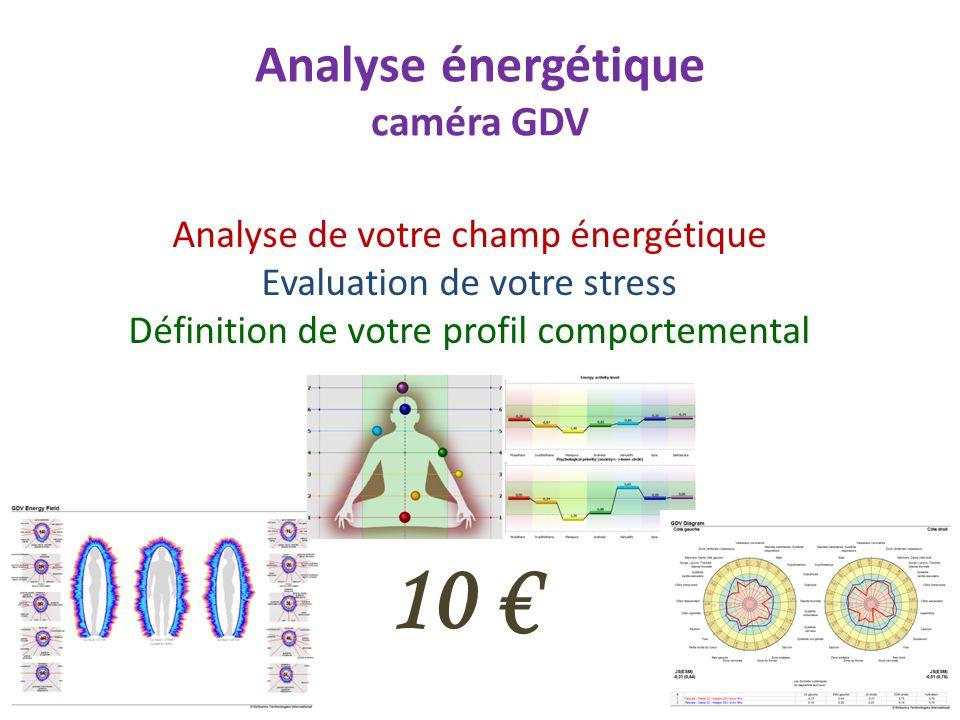 Analyse énergétique caméra GDV Analyse de votre champ énergétique Evaluation de votre stress Définition de votre profil comportemental 10
