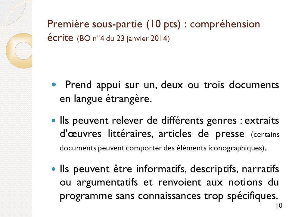 Première sous-partie (10 pts) : compréhension écrite (BO n°4 du 23 janvier 2014) Prend appui sur un, deux ou trois documents en langue étrangère.