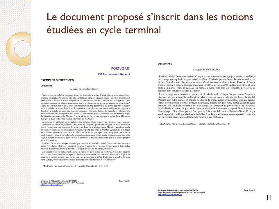 Le document proposé sinscrit dans les notions étudiées en cycle terminal 11