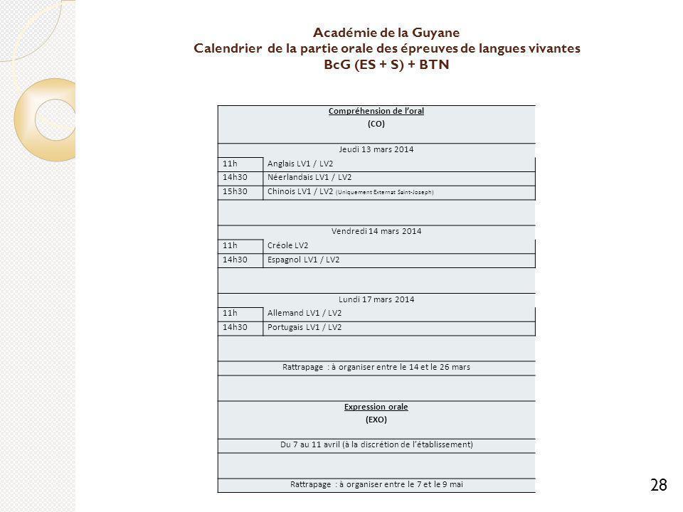 Académie de la Guyane Calendrier de la partie orale des épreuves de langues vivantes BcG (ES + S) + BTN Compréhension de loral (CO) Jeudi 13 mars 2014 11hAnglais LV1 / LV2 14h30Néerlandais LV1 / LV2 15h30Chinois LV1 / LV2 (Uniquement Externat Saint-Joseph) Vendredi 14 mars 2014 11hCréole LV2 14h30Espagnol LV1 / LV2 Lundi 17 mars 2014 11hAllemand LV1 / LV2 14h30Portugais LV1 / LV2 Rattrapage : à organiser entre le 14 et le 26 mars Expression orale (EXO) Du 7 au 11 avril (à la discrétion de létablissement) Rattrapage : à organiser entre le 7 et le 9 mai 28