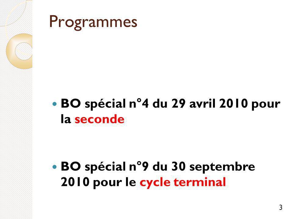Programmes BO spécial n°4 du 29 avril 2010 pour la seconde BO spécial n°9 du 30 septembre 2010 pour le cycle terminal 3