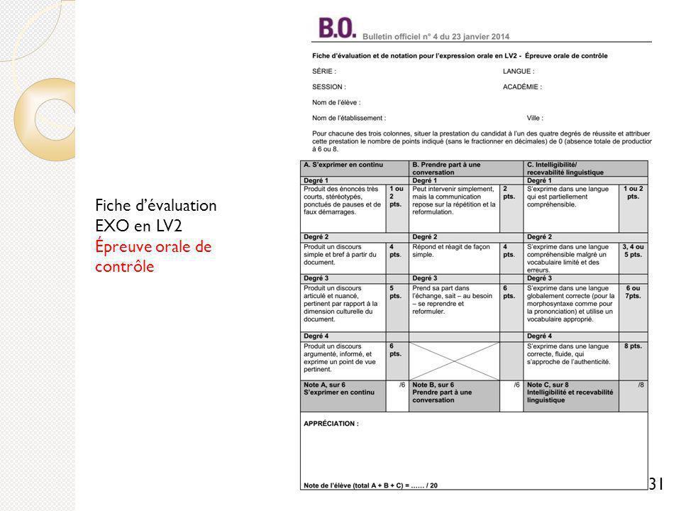 Fiche dévaluation EXO en LV2 Épreuve orale de contrôle 31