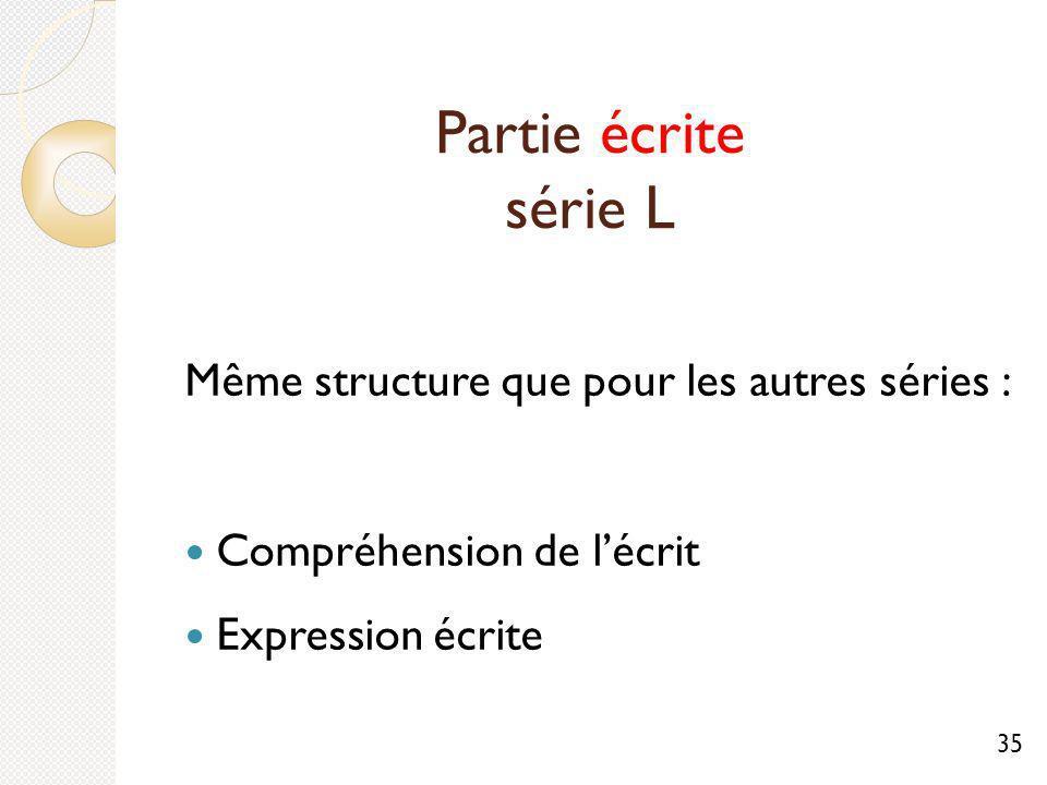 Partie écrite série L Même structure que pour les autres séries : Compréhension de lécrit Expression écrite 35