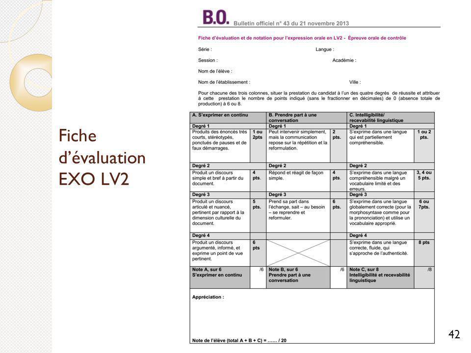 Fiche dévaluation EXO LV2 42