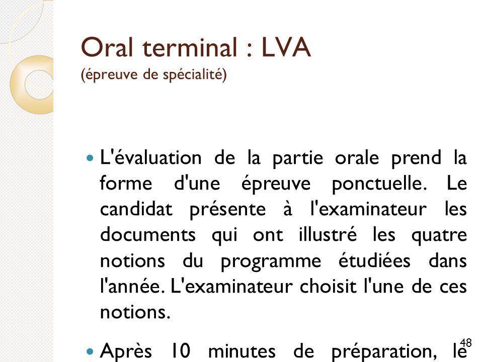 Oral terminal : LVA (épreuve de spécialité) L évaluation de la partie orale prend la forme d une épreuve ponctuelle.