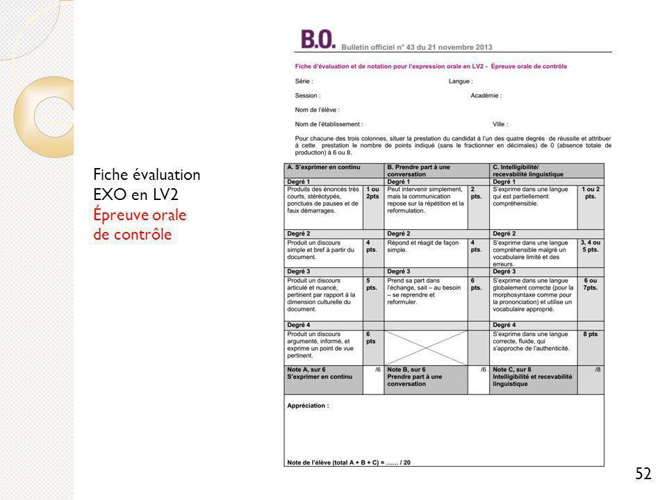Fiche évaluation EXO en LV2 Épreuve orale de contrôle 52
