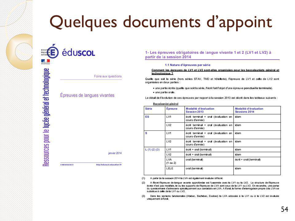Quelques documents dappoint 54