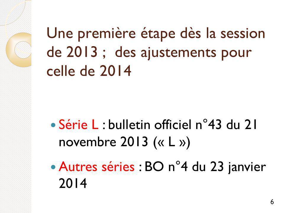 Une première étape dès la session de 2013 ; des ajustements pour celle de 2014 Série L : bulletin officiel n°43 du 21 novembre 2013 (« L ») Autres séries : BO n°4 du 23 janvier 2014 6