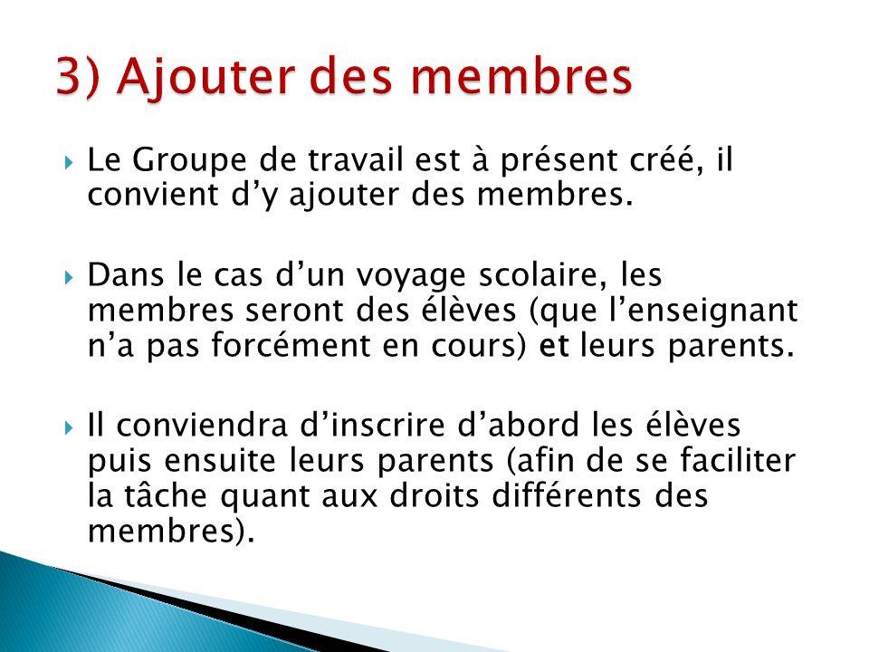 Le Groupe de travail est à présent créé, il convient dy ajouter des membres.