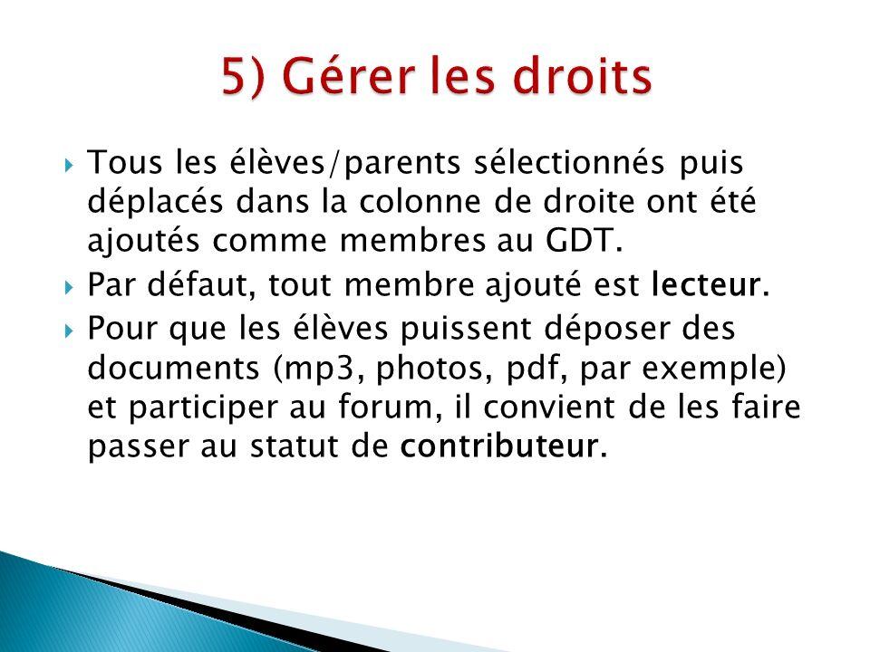 Tous les élèves/parents sélectionnés puis déplacés dans la colonne de droite ont été ajoutés comme membres au GDT.