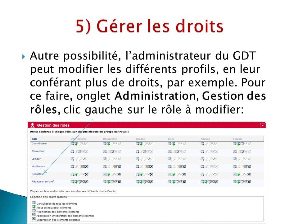 Autre possibilité, ladministrateur du GDT peut modifier les différents profils, en leur conférant plus de droits, par exemple.
