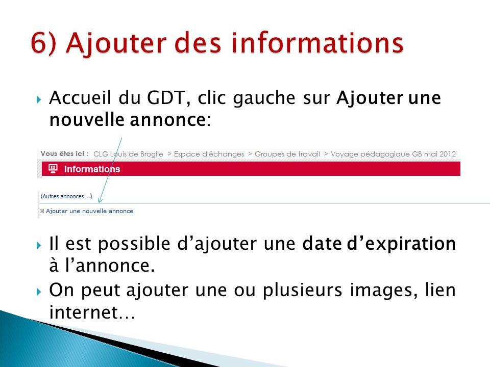 Accueil du GDT, clic gauche sur Ajouter une nouvelle annonce: Il est possible dajouter une date dexpiration à lannonce.
