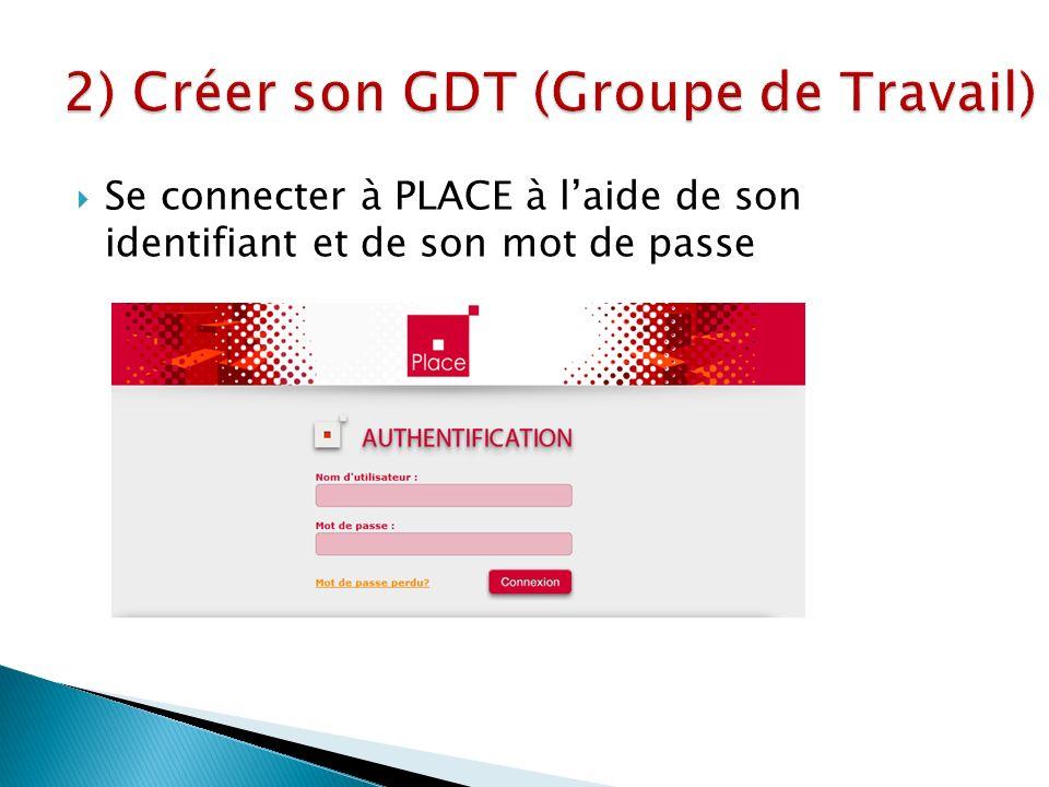 Se connecter à PLACE à laide de son identifiant et de son mot de passe