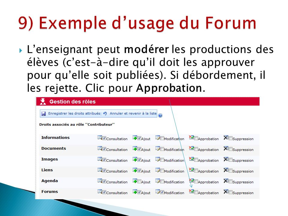 Lenseignant peut modérer les productions des élèves (cest-à-dire quil doit les approuver pour quelle soit publiées).