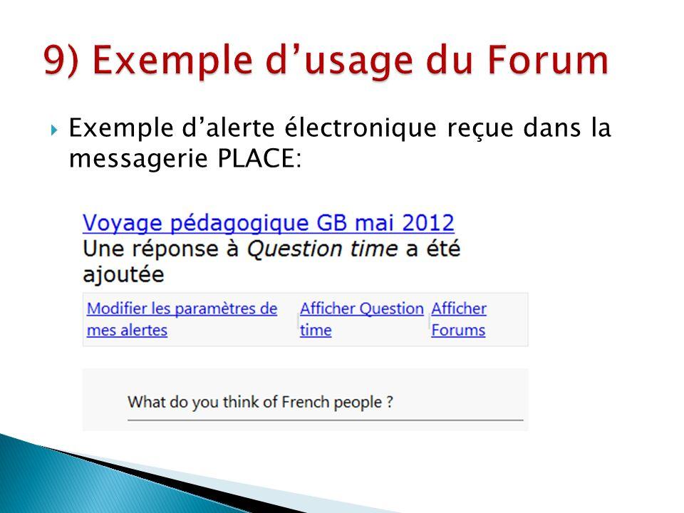 Exemple dalerte électronique reçue dans la messagerie PLACE:
