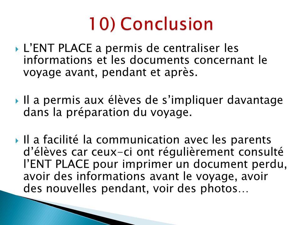 LENT PLACE a permis de centraliser les informations et les documents concernant le voyage avant, pendant et après.