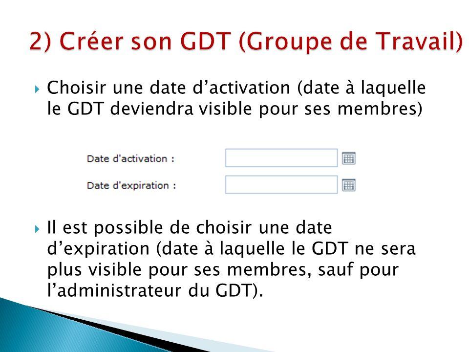 Choisir une date dactivation (date à laquelle le GDT deviendra visible pour ses membres) Il est possible de choisir une date dexpiration (date à laquelle le GDT ne sera plus visible pour ses membres, sauf pour ladministrateur du GDT).