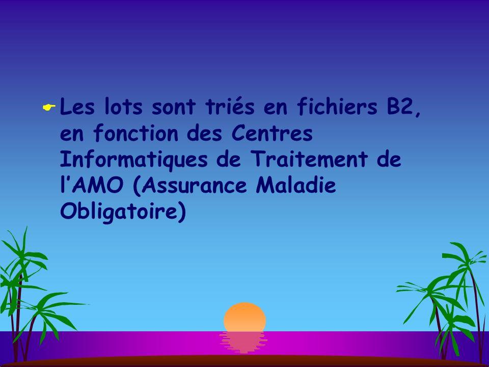 Les lots sont triés en fichiers B2, en fonction des Centres Informatiques de Traitement de lAMO (Assurance Maladie Obligatoire)