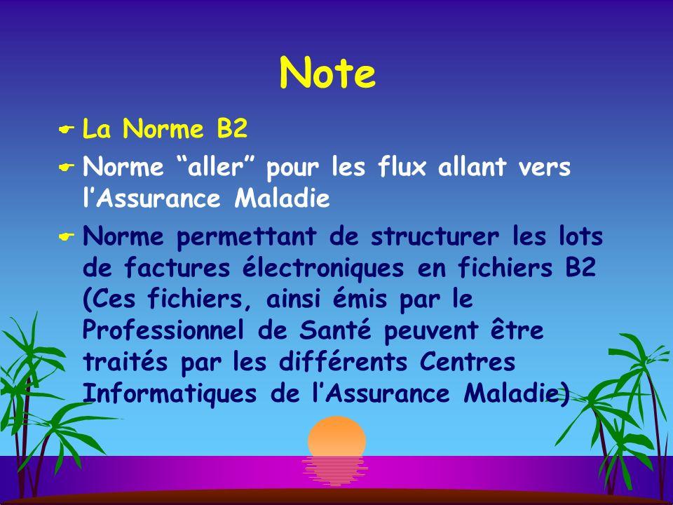 Note La Norme B2 Norme aller pour les flux allant vers lAssurance Maladie Norme permettant de structurer les lots de factures électroniques en fichier