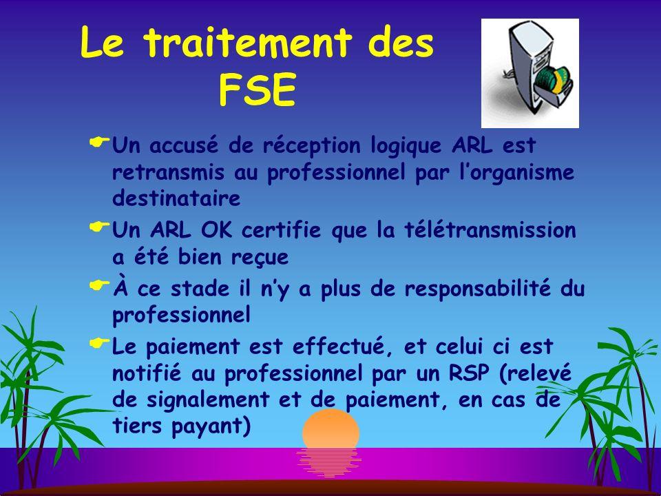 Le traitement des FSE Un accusé de réception logique ARL est retransmis au professionnel par lorganisme destinataire Un ARL OK certifie que la télétra