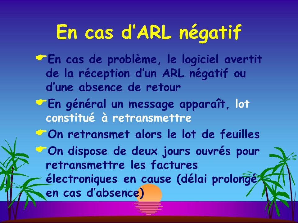 En cas dARL négatif En cas de problème, le logiciel avertit de la réception dun ARL négatif ou dune absence de retour En général un message apparaît,