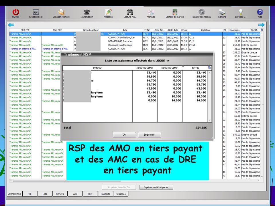 RSP des AMO en tiers payant et des AMC en cas de DRE en tiers payant