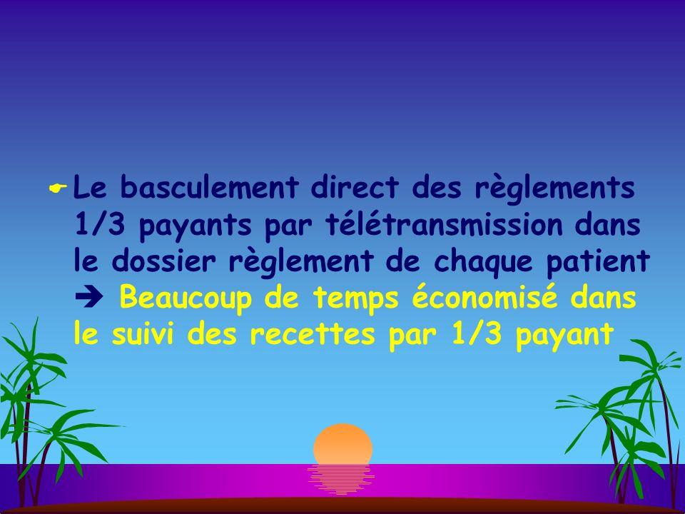 Le basculement direct des règlements 1/3 payants par télétransmission dans le dossier règlement de chaque patient Beaucoup de temps économisé dans le