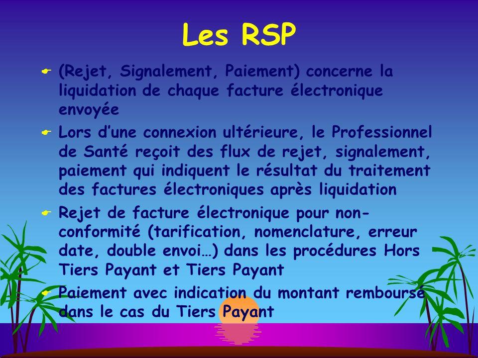 Les RSP (Rejet, Signalement, Paiement) concerne la liquidation de chaque facture électronique envoyée Lors dune connexion ultérieure, le Professionnel