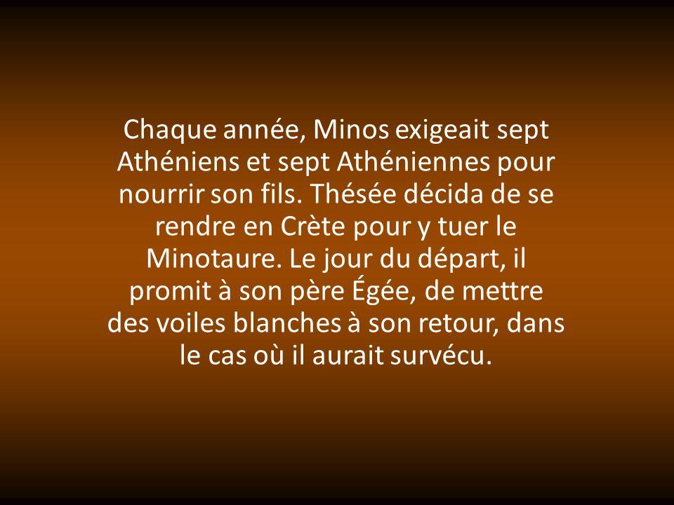 Arrivé en Crète, il rencontra Ariane, la fille de Minos, qui lui donna une pelote de fil magique : il devrait laccrocher aux portes du labyrinthe, et le dérouler au fur et à mesure.