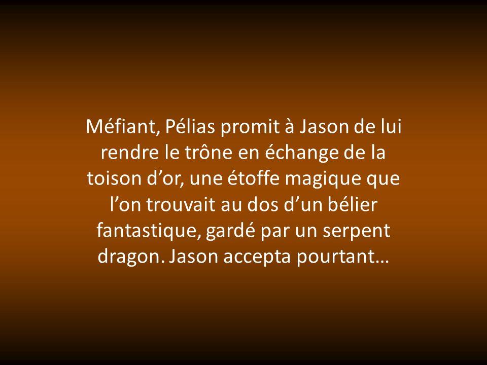 Jason rassembla ses amis, tels Orion ou les jumeaux Castor et Pollux, et embarqua à bord de lArgo, un bateau gigantesque construit par Argos, un architecte.