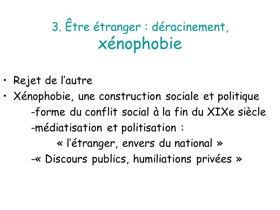 3. Être étranger : déracinement, xénophobie Rejet de lautre Xénophobie, une construction sociale et politique -forme du conflit social à la fin du XIX