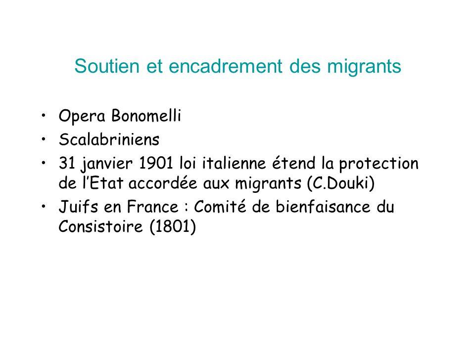 Soutien et encadrement des migrants Opera Bonomelli Scalabriniens 31 janvier 1901 loi italienne étend la protection de lEtat accordée aux migrants (C.