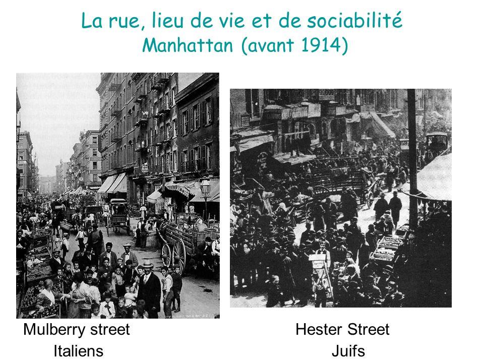 La rue, lieu de vie et de sociabilité Manhattan (avant 1914) Mulberry street Hester Street Italiens Juifs