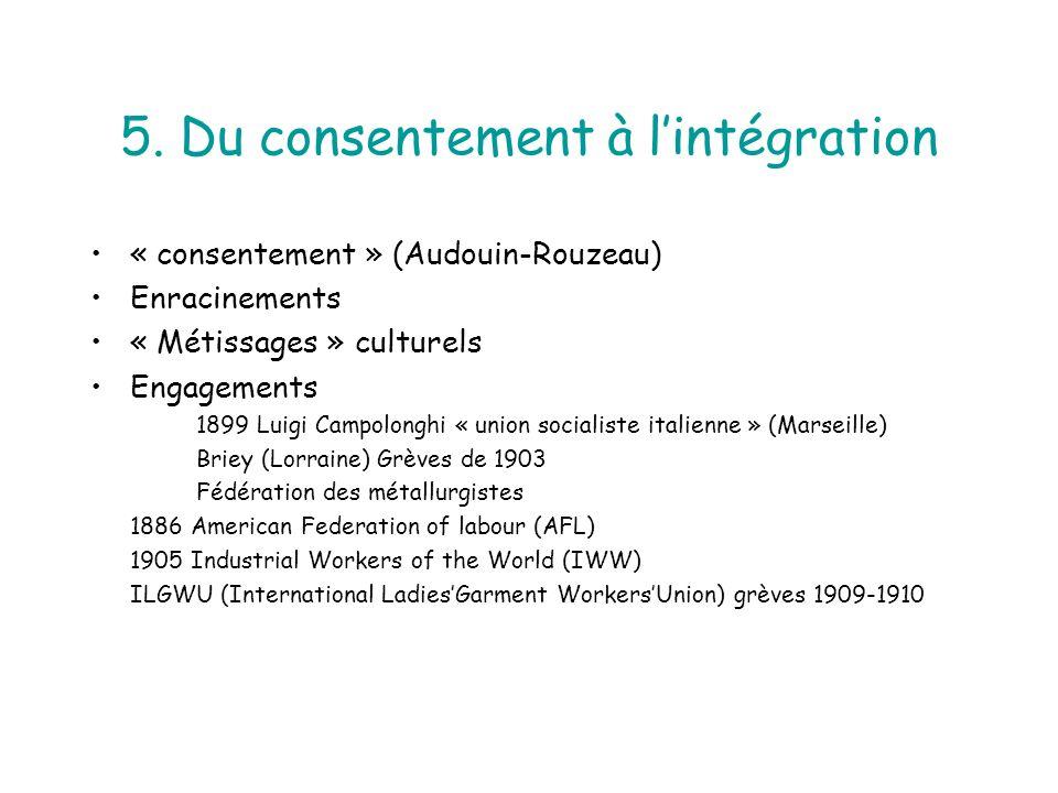 5. Du consentement à lintégration « consentement » (Audouin-Rouzeau) Enracinements « Métissages » culturels Engagements 1899 Luigi Campolonghi « union