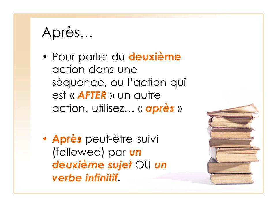 Après… Pour parler du deuxième action dans une séquence, ou laction qui est « AFTER » un autre action, utilisez… « après » Après peut-être suivi (followed) par un deuxième sujet OU un verbe infinitif.