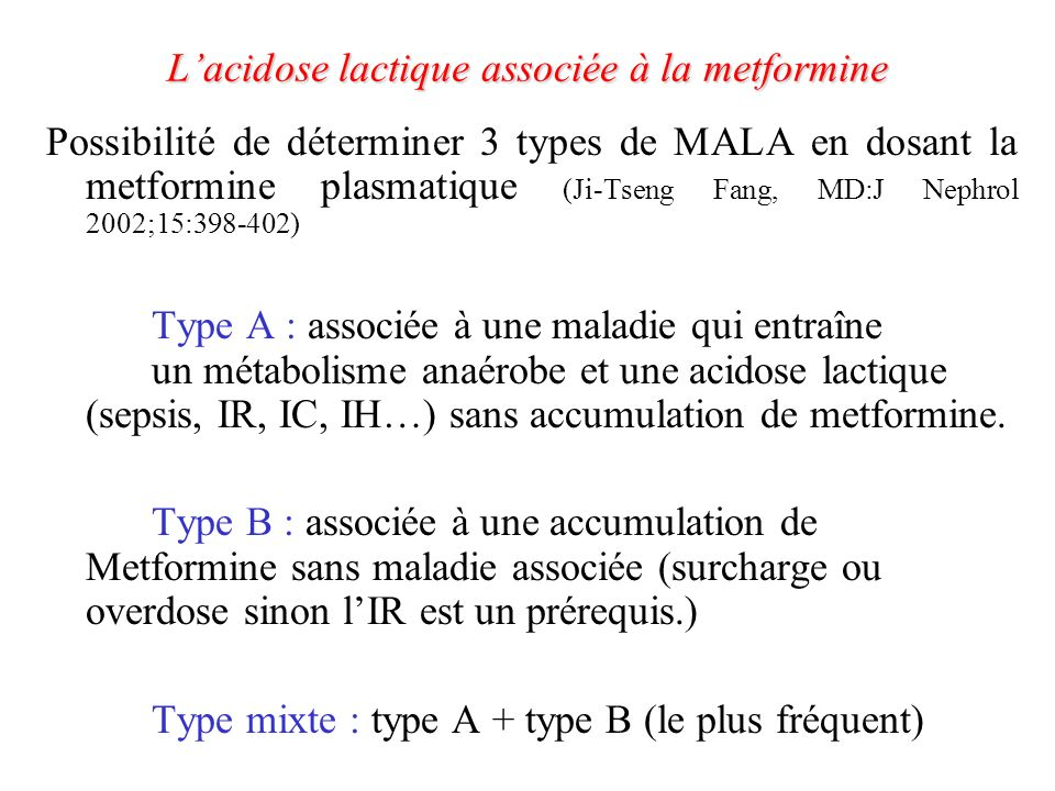 Mécanisme supposé dapparition de lacidose lactique J.C.