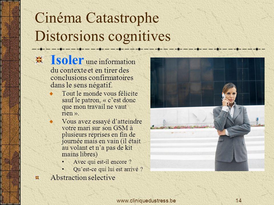 Cinéma Catastrophe Distorsions cognitives Isoler une information du contexte et en tirer des conclusions confirmatoires dans le sens négatif.