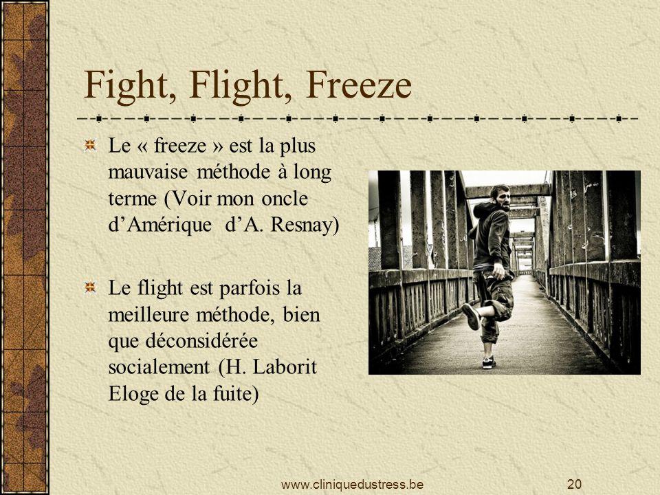 Fight, Flight, Freeze Le « freeze » est la plus mauvaise méthode à long terme (Voir mon oncle dAmérique dA.