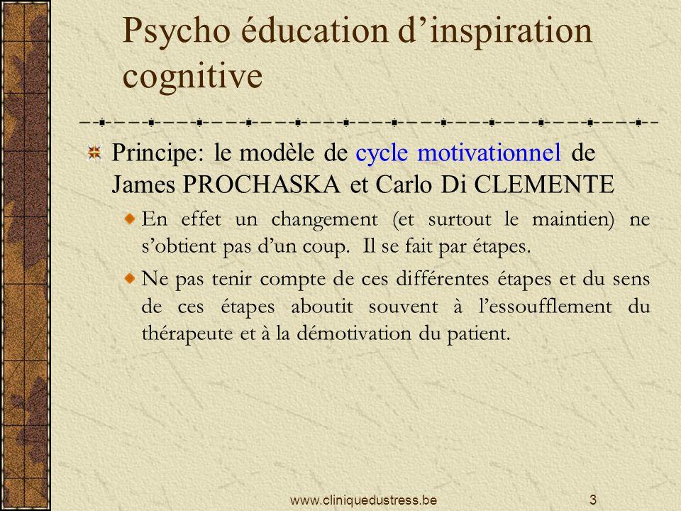 Psycho éducation dinspiration cognitive Principe: le modèle de cycle motivationnel de James PROCHASKA et Carlo Di CLEMENTE En effet un changement (et surtout le maintien) ne sobtient pas dun coup.