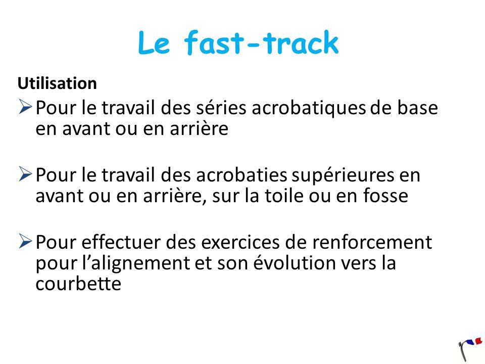 Le fast-track Utilisation Pour le travail des séries acrobatiques de base en avant ou en arrière Pour le travail des acrobaties supérieures en avant o